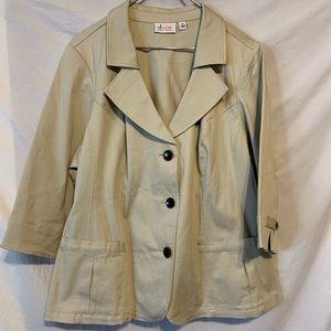 Denim & co D&co 2X beige blazer 3/4 sleeves 486a